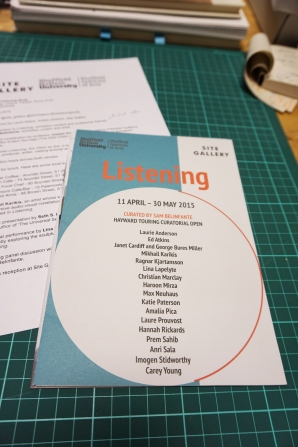Conference: The Listening Body as part of Sam Belinfante curated Exhbition Listening, 2015